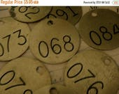 ON SALE One 1940s Numbered Cattle Tag