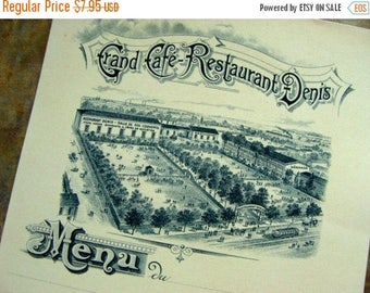 ONSALE 122 Year Old Edwardian Divine Unused Paris France Menu Ephemera