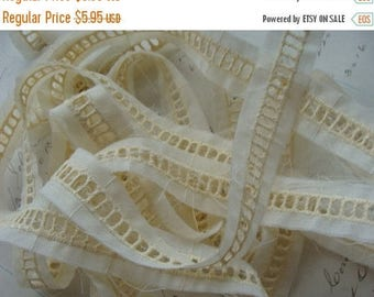 ONSALE 3 Yards Gorgeous Antique 1930s Embroidered English Cotton Lace
