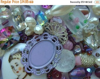 ONSALE Vintage Glass and New Bead Mixture Sweet Lavender Collection 150pc Plus Lot Beads and Jewelry supplies MixN033
