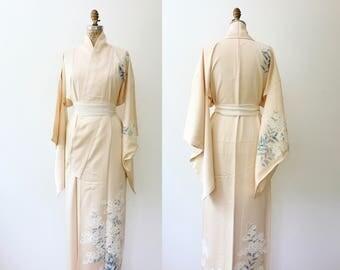 vintage silk kimono / 1950s kimono / Ēderuwaisu Kimono