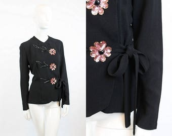 40s Jacket Rayon Medium / 1940 Vintage Asian Inspired Blouse / Tokyo Nights Top