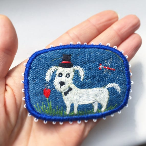 """Brooch - """"Mr.Darvin in the night"""" -  Funny Dogs - collection, hand embroidered pet brooch"""