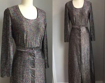 Vintage 1970s Rainbow Metallic Two Piece Maxi Dress Bodysuit Skirt Size Small