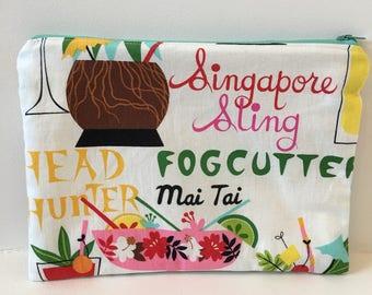 Tropical Zipper Pouch/ Alexander Henry Fabric / Makeup Bag