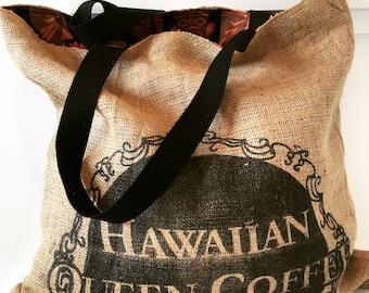 Black Hawaiian Queen Coffee Sack Tote/ Beach Bag/ Market Bag/ Travel