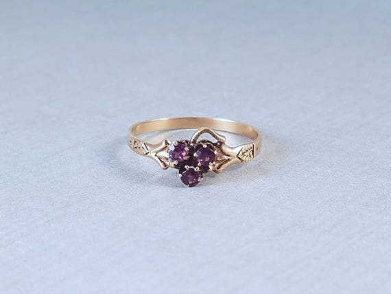 Darling antique Victorian 10k rose gold three amethyst ring, size 8-1/4