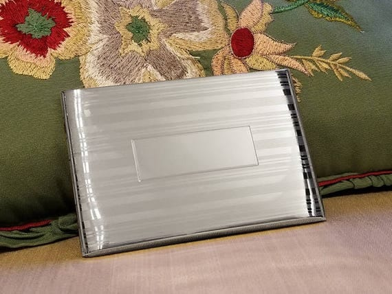 3.7 ounce vintage Art Deco signed Felmore sterling silver cigarette case, smoking, tobacciana, business card case