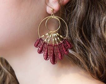 Lace earrings - CHANDU - Black, burgundy, ivory, mustard, raspberry or silver lace