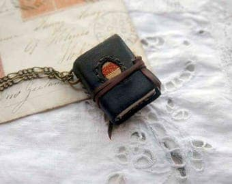 The Little Artist - Mini Wearable Book, Tea-Stained Fold Out Pages, Vintage Ticking Fabric - OOAK