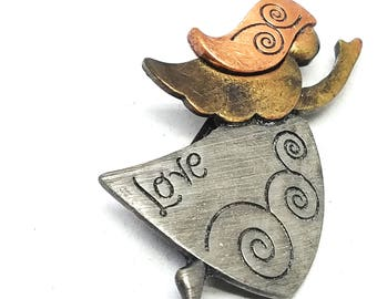 Angel of Love Tricolor Copper Brass Pewter Vintage Pin