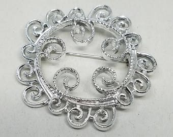 Sarah Coventry COV Silver Tone Lacy Signed Vintage Pin Brooch