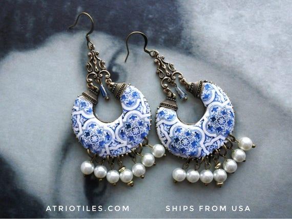 Chandelier Earrings Portugal Tile Azulejo Blue Majolica , AvEIRO Blue - Geometric   Bridal Evening REVERSIBLE