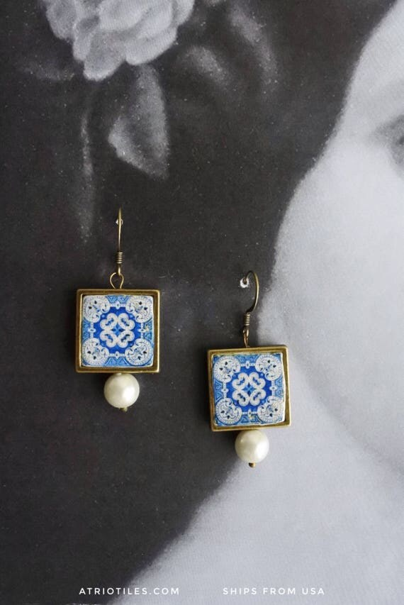 Earrings Portugal Tile Azulejo Blue Portuguese Antique COIMBRA Water resistant, Reversible Framed (see photos of actual facade) 611