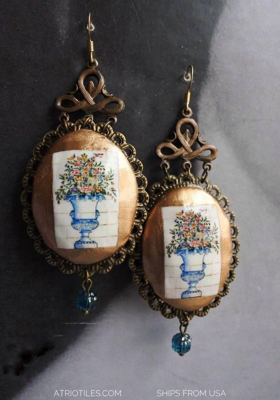 Chandelier Earrings Portugal Tiles ABRANTES Flower Vase Antique  - Fabergé  Provence Limoges Majolica Italian Pottery Reversible Gift Box