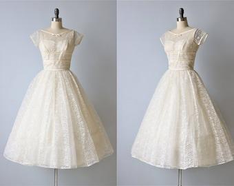 Vintage 1950s Lace Tea Length Wedding Dress / 1950s Lace Wedding Gown / Short Sleeve