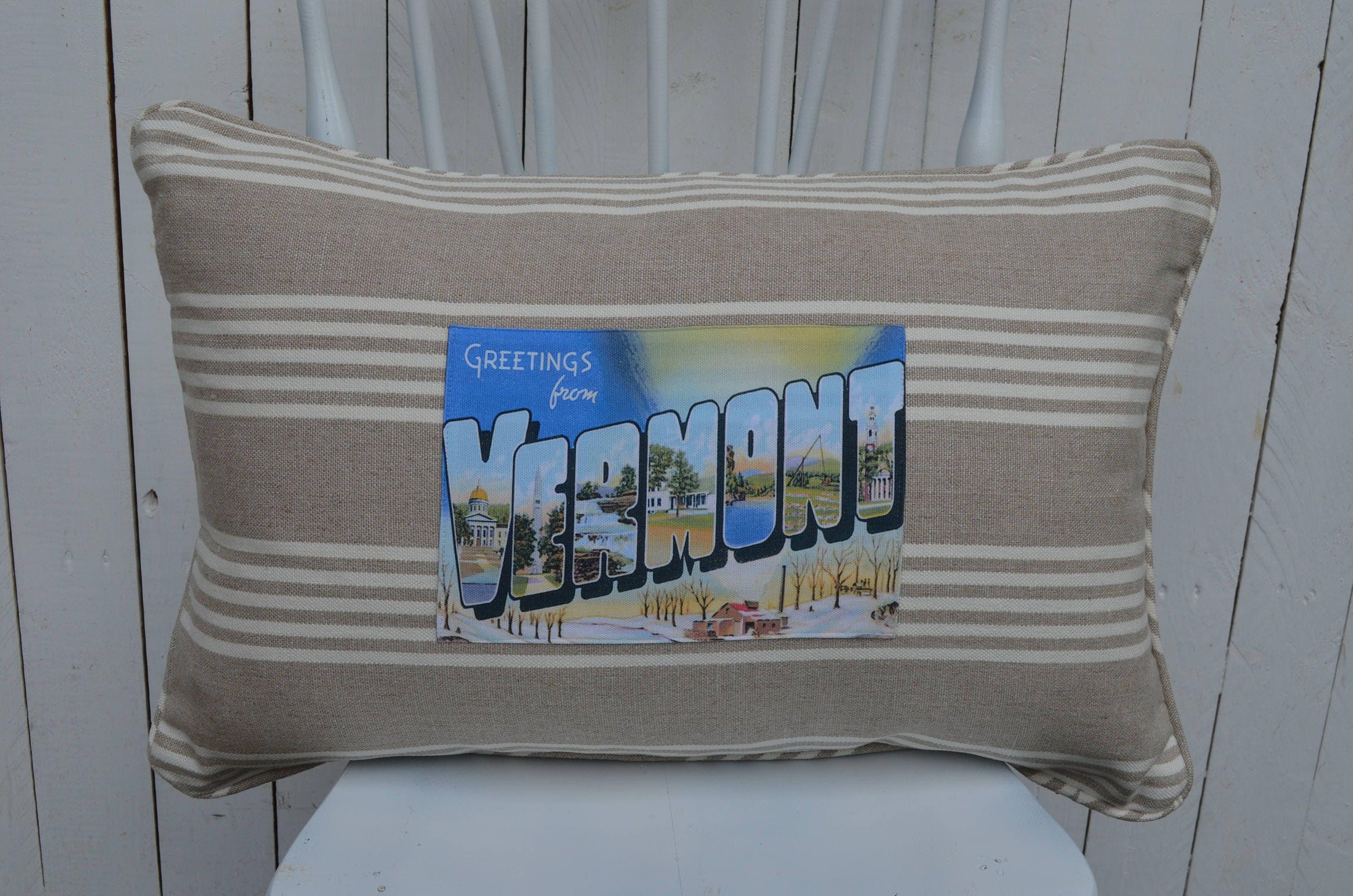 Greetings from vermont pillow available in 3 styles and 2 prices kristyandbryce Gallery