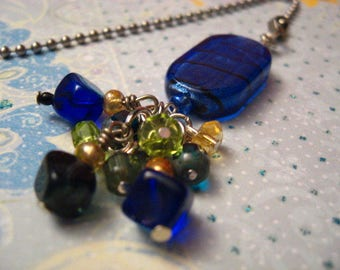 SPARKLE Sapphire Blue Glass with Crystals - LIGHT or FAN pull or Dream Catcher or Rear View Mirror Charm