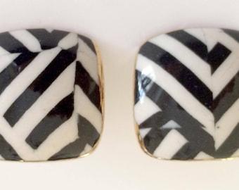 Ceramic Black & White Stripe Earrings