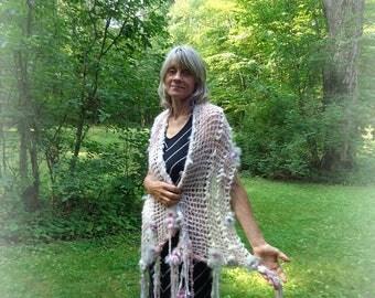 hand knit shawl art yarn gossamer enchanted forest faerie wrap - softest woodland dreamflower wrap