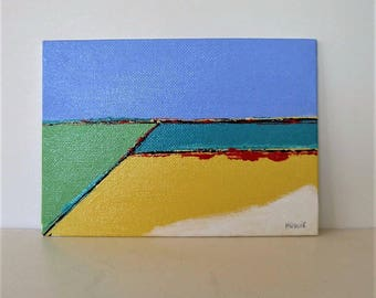 Small Acrylic Landscape Painting, Original ,Turquoise green and Pink, 5 x 7, Modern Home Decor, Contemporary art, wall decor, Gift idea