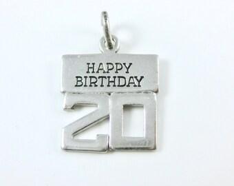 Vintage Wells Happy 20th Birthday Sterling Silver Charm