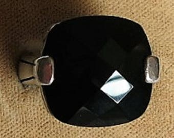 A Ring with a Black Faceted Stone in a Sterling Silver Setting Size 8