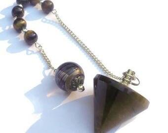 Summer Sale Tigers Eye Pendulum Pendant Meditation, New Age,Yin Yang, Solar Plexis Chakra, Talisman, Amulet, Dowsing, Scrying, Tiger Beads,