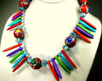Rainbow Color Spikes w Flower Beads Necklace, OOAK by Rachelle Starr, Dot Eye Beads Also, A Party Of Hues and Handmade Beads