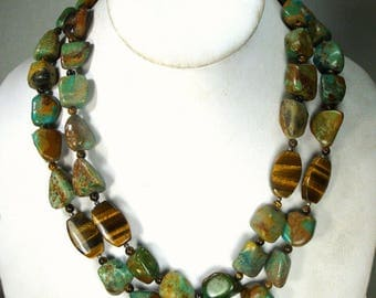 Turquoise & Tigers Eye Stone Necklace, 2 Earthy, Chunky Bead Strands w Petrified Wood Bead Spacers, , 1980s,  OOAK