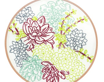 SUCCULENT GARDEN embroidery kit - hand embroidery kit, embroidery hoop art, floral embroidery, flowers, embroidery pattern by StudioMME
