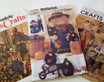 """Autumn Decor Pattern Lot Simplicity 9010 Butterick 6298 & McCall's 6665 Sewing Patterns Crow Dolls 30"""" Scarecrow Porch Doll and Wall Hanging"""