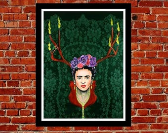 Fiery Frida Kahlo,southwest art,wall decor,pop art,lowbrow art,female artist,signed art print,urban art,graffiti art,contemporary art,mexico