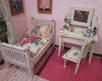 """Antique German Dollhouse Bedroom Furniture - Bed Vanity and Chair - 1"""" Scale"""