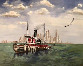 "Acrylic on canvas 16"" x 20"" Steam Tugboat New York Harbor"