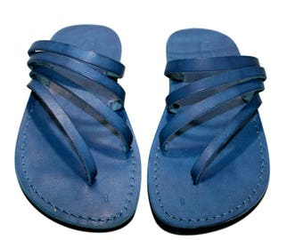 CLEARANCE SALE - Blue Rainbow Leather Sandals for Men & Women - EURO # 40 - Handmade Unisex Sandals, Genuine Leather Sandals, Sale