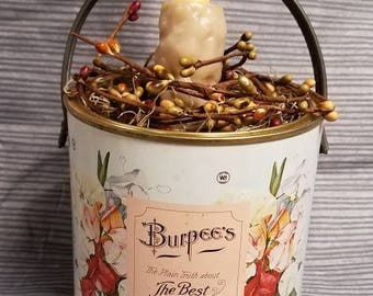 Burpee's Seed Can with Timer Candle and Berries