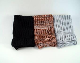 Dishcloths/Washcloths Knit in Cotton in Black LtGrey and Black/Orange/LtGrey