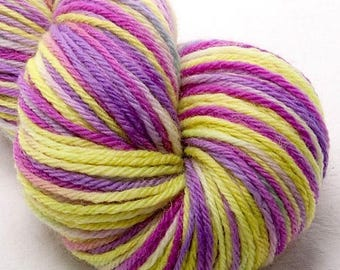 BFL, Hand dyed yarn, DK, simply soft yarn, variegated, hand weaving,  knitting materials, hand dyed wool yarn, crochet,  weaving,  Frolic