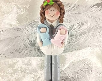 Polymer Clay Female Obstetrician Christmas Ornament - Female OB/GYN Doctor - Obstetrics Nurse Ornament - Gift for Baby Doctor -739