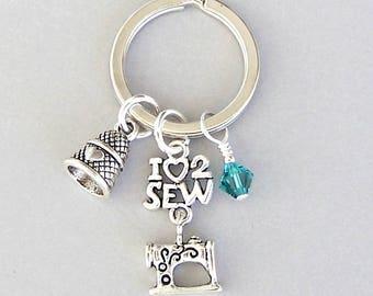 Sewing keyring, love to sew key chain, birthstone key ring, thimble, gift for seamstress, key fob, purse charm