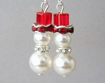Snowman earrings, small red and white snowmen, Swarovski pearl and crystal white snowmen earrings, Swarovski garnet snowmen earrings
