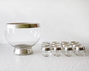 Dorothy Thorpe punch bowl set, mid century modern silver roly poly cocktail glasses, vintage 60s mad men glasses, 1960s barware, 12 tumblers