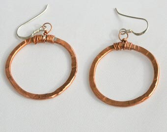 Hand Hammered Copper and Sterling silver smaller FREE FORM Hoop Earrings - sterling ear wires
