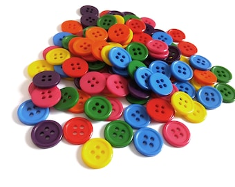 Mixed colorful plastic sewing buttons - set of 112 craft buttons 14mm