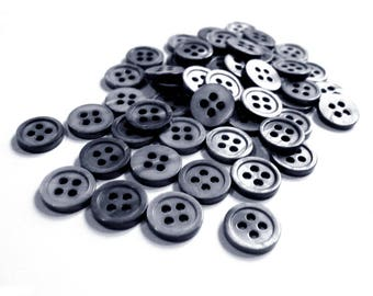 Mother of Pearl Shell Buttons 11mm - set of 8 eco friendly grey buttons  (BN656)