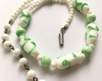 Vintage White Milkglass & Jadeite Colored Art Glass Choker Necklace