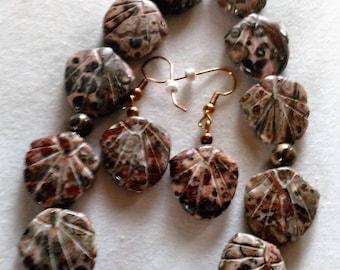 jasper Leopardskin Necklace Earring Set, Hand Crafted Carved Beads