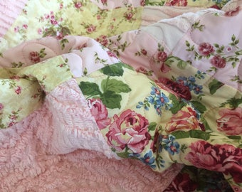 Shabby Chic baby or lap quilt  with vintage chenille and roses