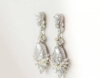 CZ Wedding Earrings, Bridal Earrings, Pearl Crystal Earrings, CZ Drop Earrings